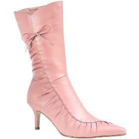 Розовые кожаные сапоги с луком!