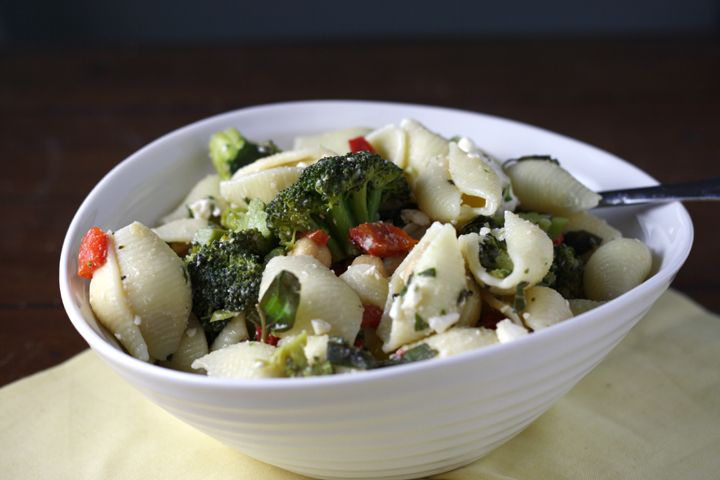 Pasta Salad with Feta, Broccoli, Capers, and Chickpeas ~ ElephantEats ...
