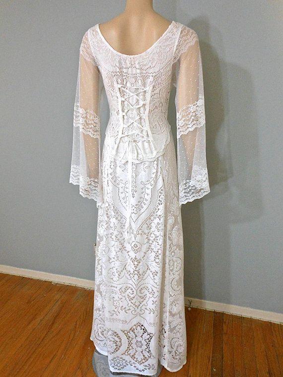 White hippie wedding dress boho crochet lace wedding dress for White hippie wedding dress
