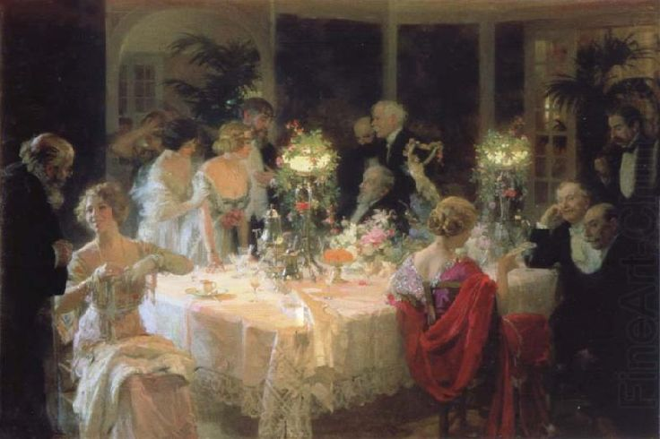 The end of the supper, Jules-Alexandre Grun 1913 (Belle Epoque period)