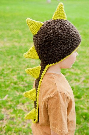 Dinosaur Knit Hat Pattern : Dinosaur or Dragon Hat Pattern - Instant Download Crochet Pattern