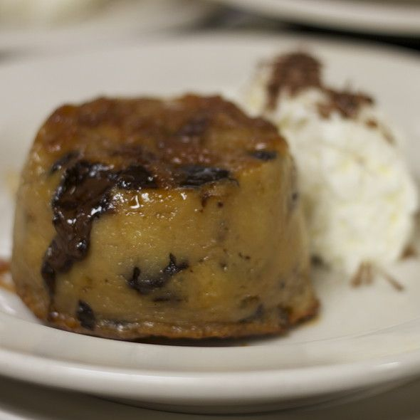 White Chocolate & Caramel Bread Pudding with dark chocolate chunks ...