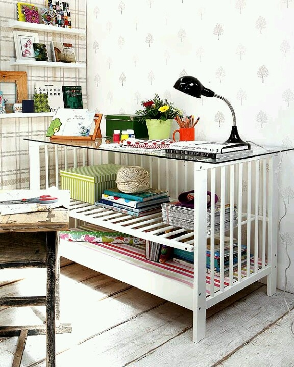 Reusing Old Furniture Adorable With Baby Crib Desk Photo