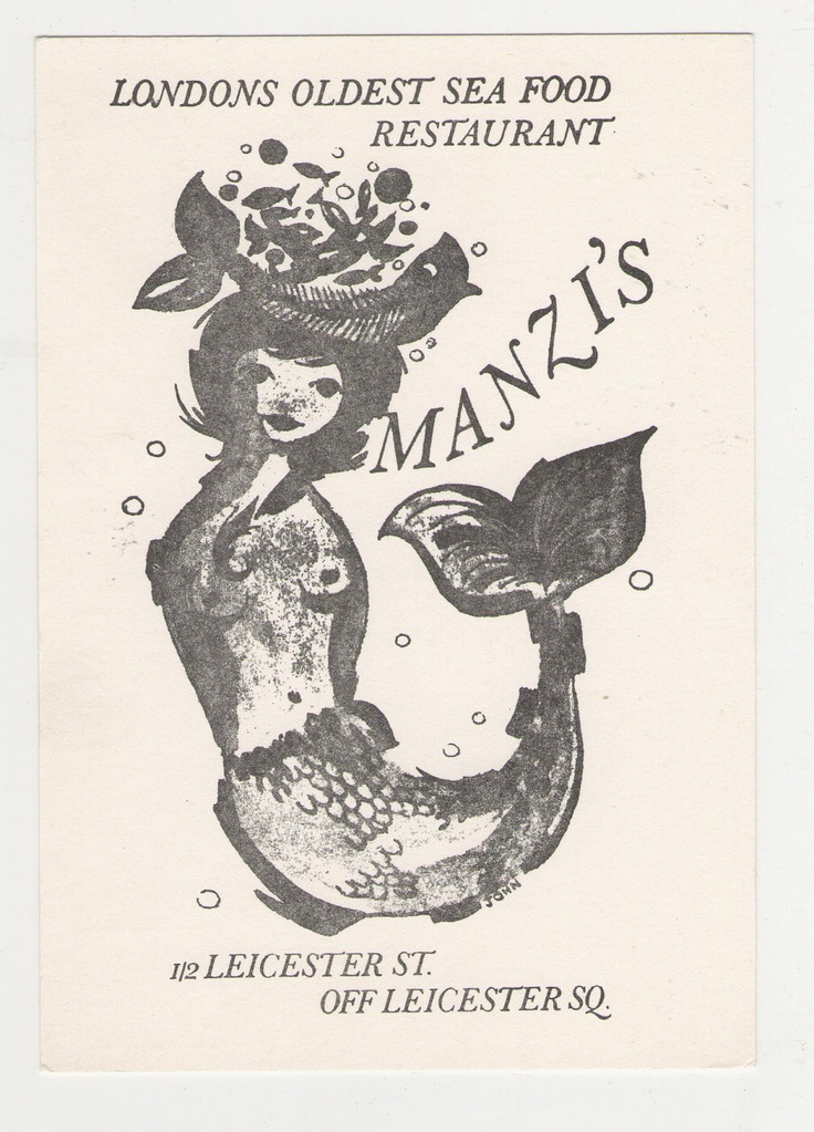 Vintage 1970s Manzi's Hotel and Restaurant London, England Post Card