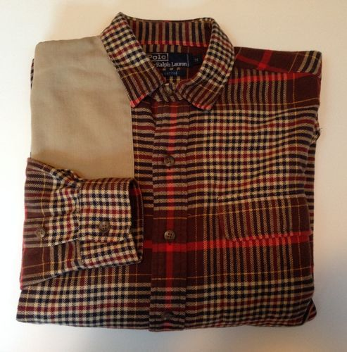 Polo ralph lauren men s flannel plaid elbow patches button for Mens flannel shirt with elbow patches