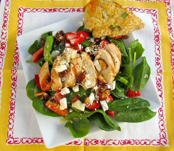 strawberry spinach salad with chicken | Clean Eating | Pinterest