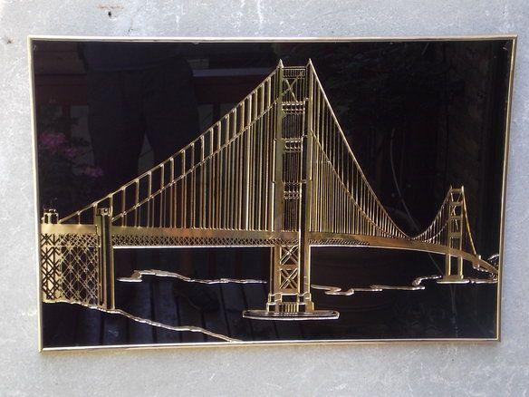 Gold Black Golden Gate Bridge Metal Wall Art In Bedford Stuyvesant