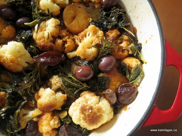 ... Cauliflower Stifado with Kale & Kalamata Olives features an olive-oil