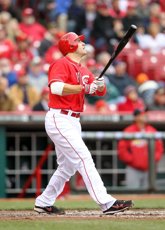 CINCINNATI, OH - APRIL 11: Joey Votto #19 of the Cincinnati Reds hits a double during the game against the St Louis Cardinals at Great American Ball Park on April 11, 2012 in Cincinnati, Ohio. (Photo by Andy Lyons/Getty Images)