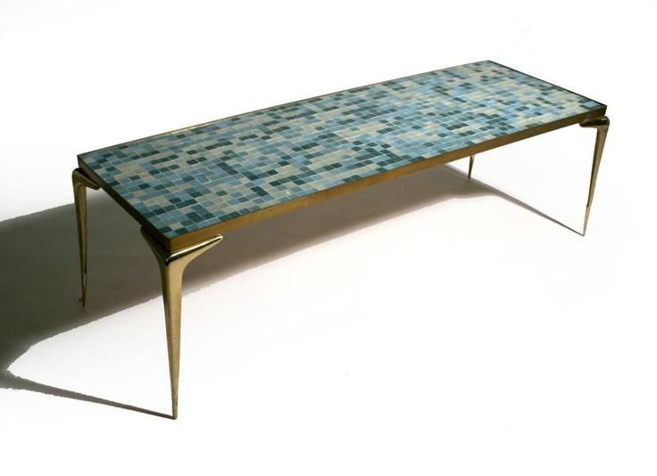 50 39 S Mid Century Modern Italian Brass Mosaic Tile Coffee Table