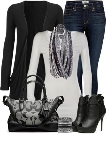 black cardigan,long white tee,jeans,mid calf boots,handbag and scarf