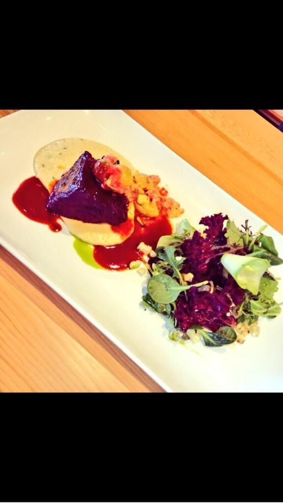 Slow Braised Beef Creamy Polenta, Heirloom Tomato. Baby lettuces, corn ...