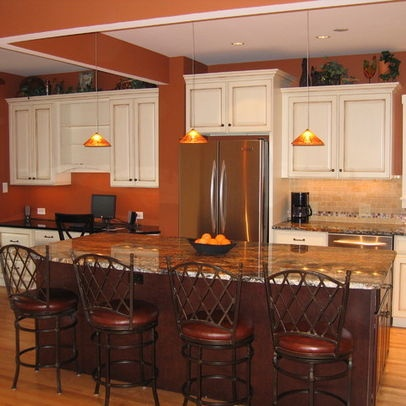 burnt orange paint w white cabinets kitchen pinterest