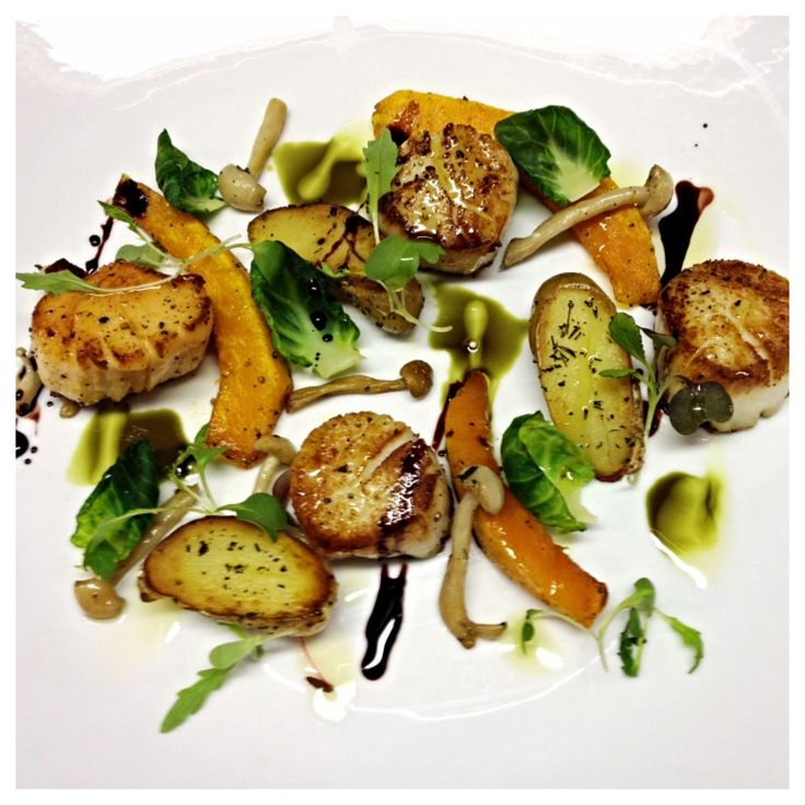 Pan roasted scallops, red kuri squash, fingerling potatoes, pumpkin ...