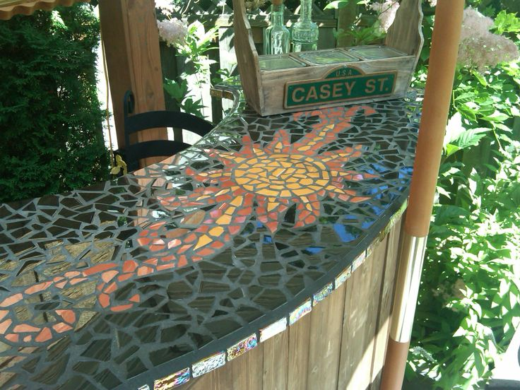 Mosaic tile bar top backyard must haves pinterest for Mosaic tile bar top
