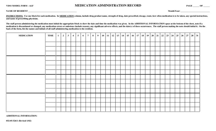 printable medication administration record | NAME OF RESIDENT _____