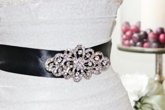 Antique inspired rhinestone black bridal sash belt by lillyknots 48