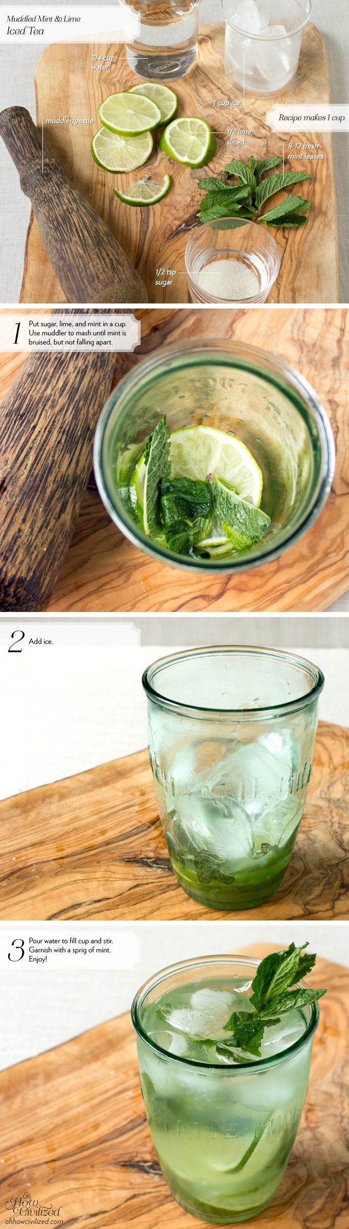 Muddled Mint & Lime Iced Tea | Recipes | Pinterest