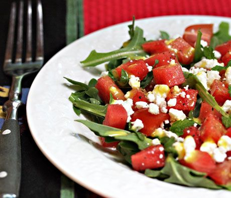 Refreshing watermelon, feta and arugula salad makes an elegant starter or main course.