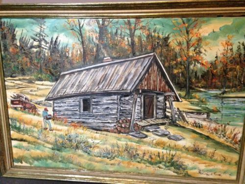 Hershel E Fullen Large Oil Painting Of Log Cabin In The