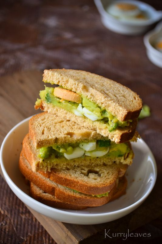 AVOCADO EGG SALAD SANDWICH | kurryleaves | Eat It | Pinterest