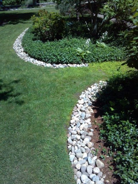 Love the rock edging on this bed front garden ideas for Rock garden edging