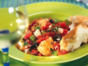 Cod Baked with Tomatoes and Feta - An easy fish casserole alive with ...
