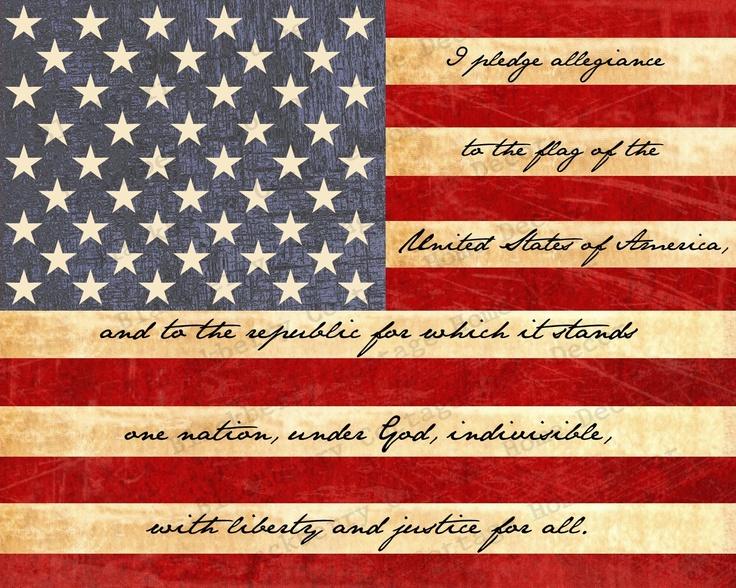 American Flag Print with Pledge of Allegiance -- 8x10 Print.