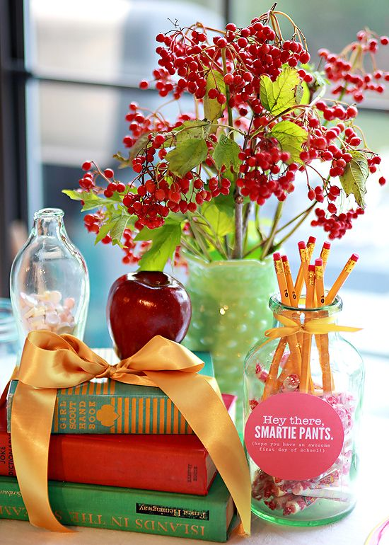 Appreciation centerpieces and decoration ideas just b cause for Back to school decoration ideas for teachers