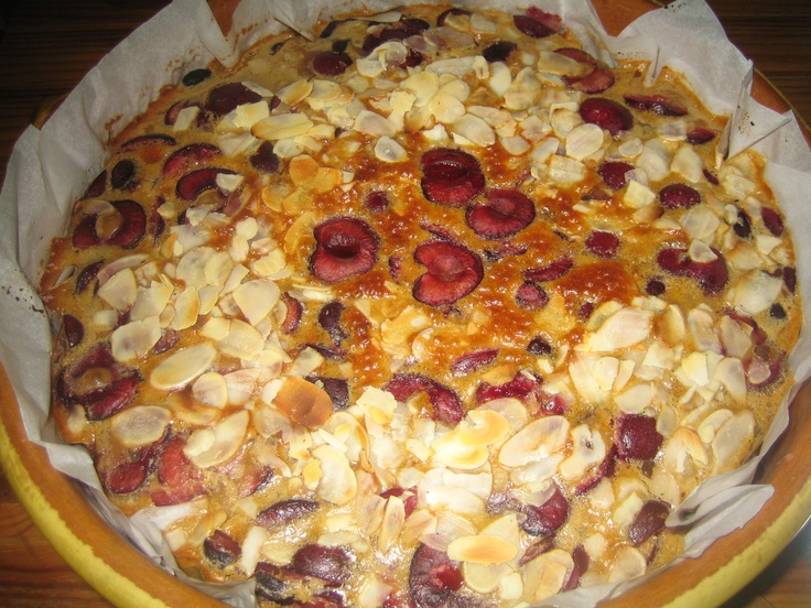 Cherry almond clafoutis. French cake recipe.