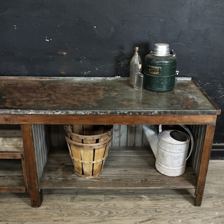 Vintage Metal Top Workbench Potting Table