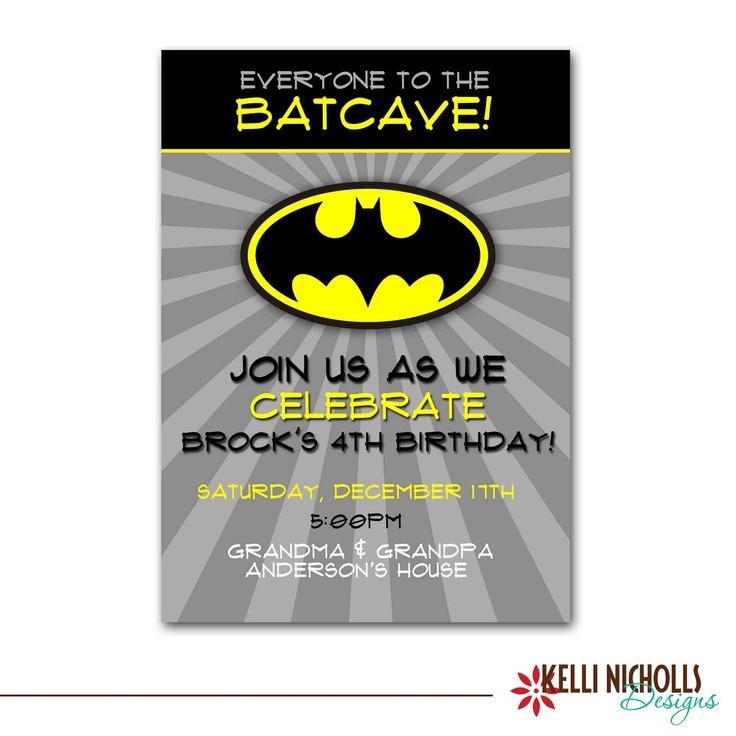 Batman Birthday Party Invitation, Custom Printable Boy Superhero Invite #B105