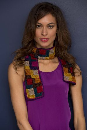 Mitered squares scarf great to wear indoors or outdoors