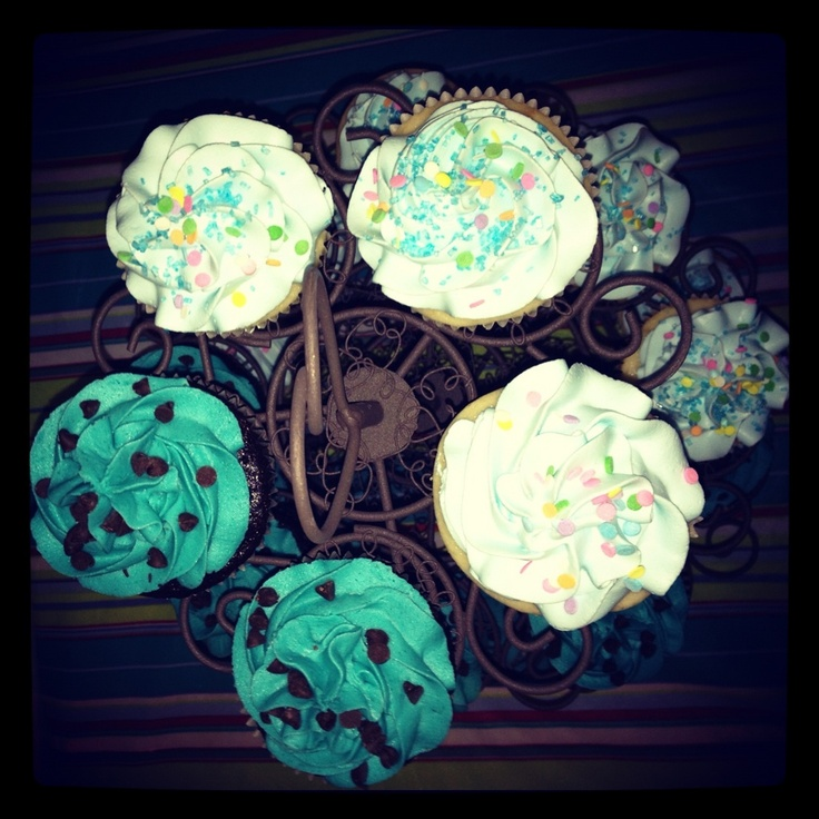 the teal cupcakes are chocolate chip cookie dough and the baby blue ...