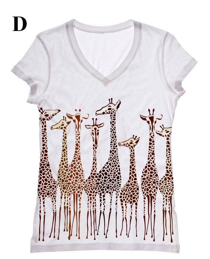 Women Giraffe print topst shirt and tank by by hellominky on Etsy, $28