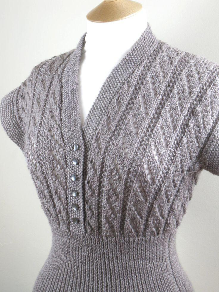 1950s-Style Handknit Cap-Sleeve Sweater. #vintage #fashion #knitwear #winter