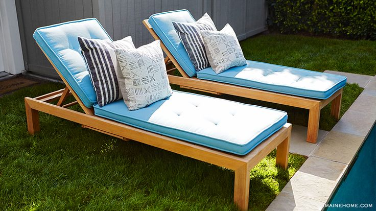 Exclusive lea michele 39 s inspiring backyard transformation for Blue and white striped chaise lounge cushions