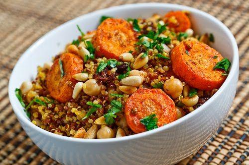 Moroccan Roasted Carrot and Chickpea Quinoa Salad | Recipe