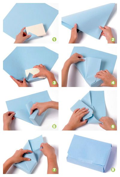 Как упаковать подарок в подарочную бумагу пошаговая  345