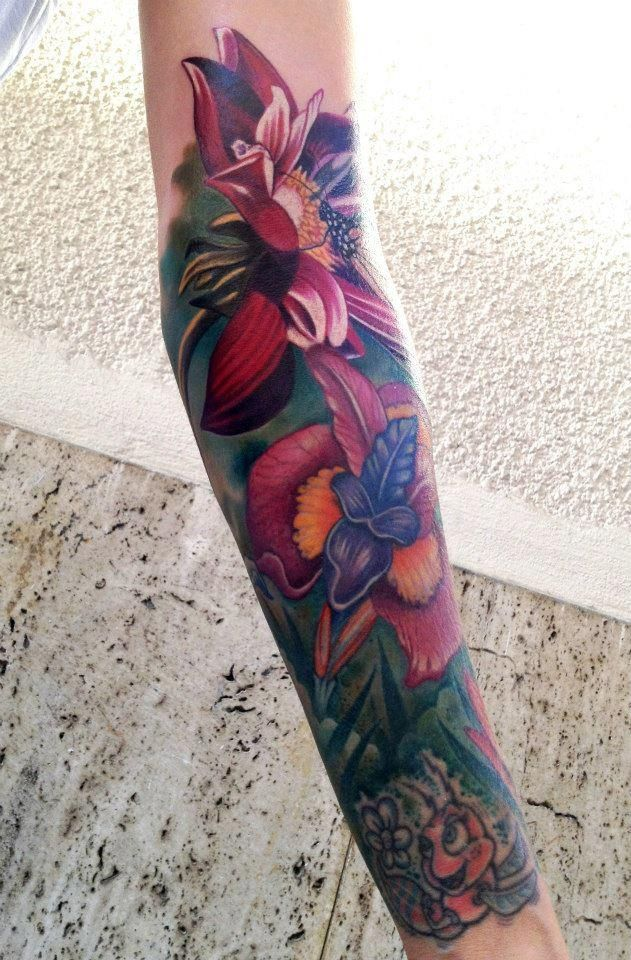 Beautiful And Quality Floral Tattoo Almost Ruined By That Bug Piece