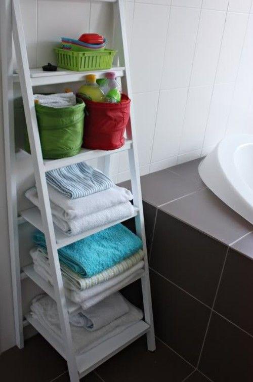 Ladder shelf for bathroom my lake house pinterest for Bathroom ladder shelf