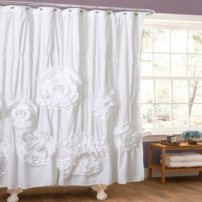 ruffled white shower curtain bathroom ideas pinterest