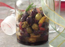 Citrus-Marinated Olives with Roasted Peppers | Recipe
