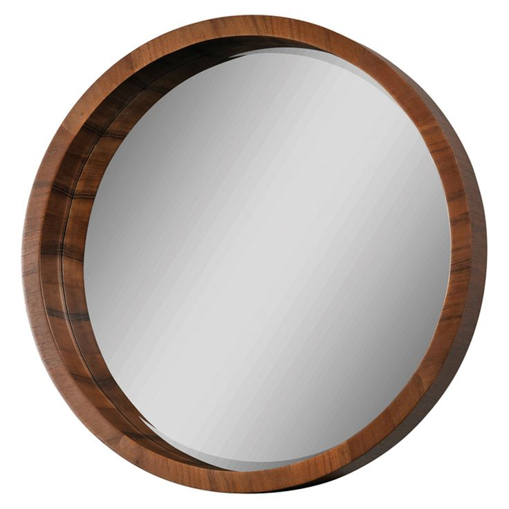 Walnut frame beveled round mirror Round framed mirror