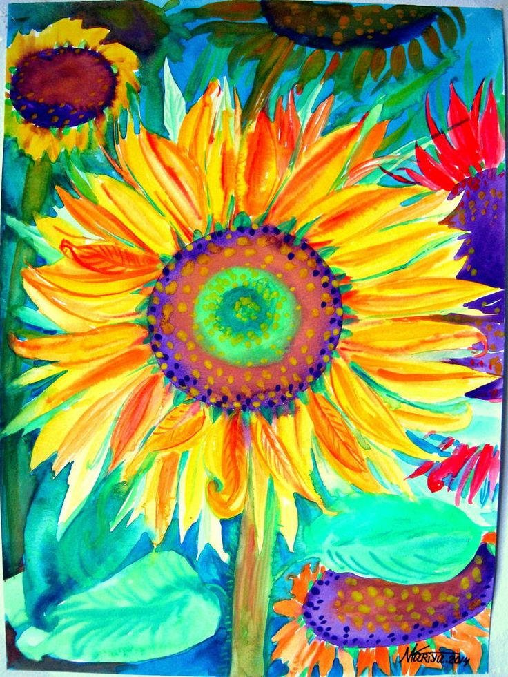 Watercolor Abstract Sunflower Sunflower Original Watercolor