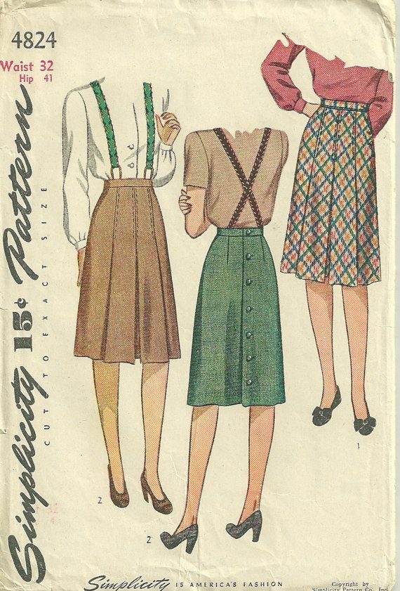 simplicity 4824 1940s misses box pleated skirt pattern use