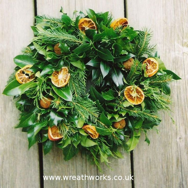Mixed Foliage Wreath With Oranges Christmas Decoration