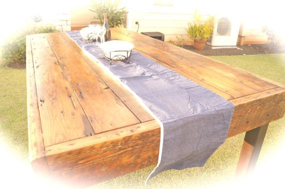 Large rustic dining table seat 10 to 12 by remadeamerica for Large dining table seats 10