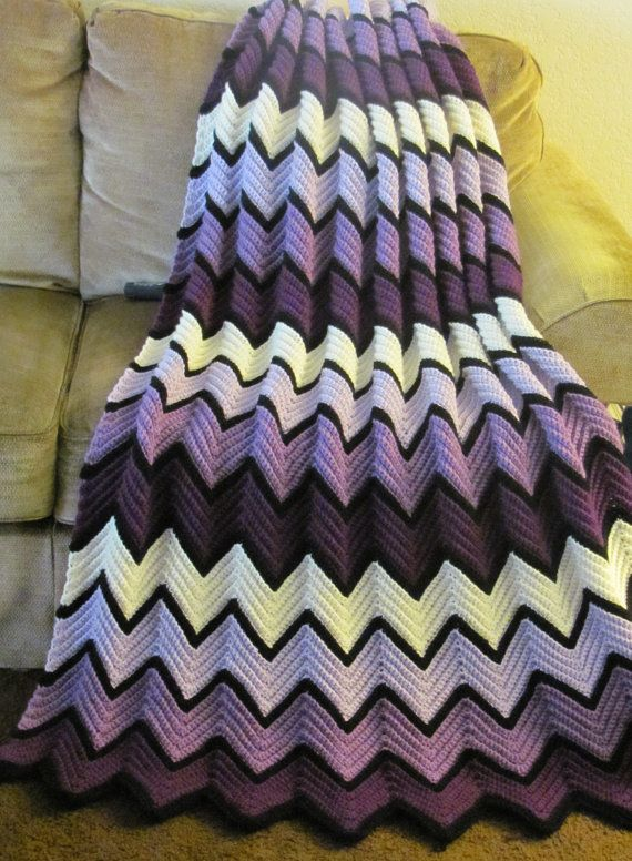 Crochet Afghan : Purple Ripple, a hand crochet afghan in shades of purple, Finished and ...