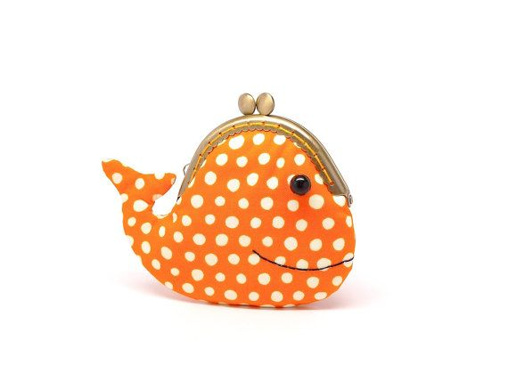 Cute sunset orange whale clutch purse by misala on Etsy, $24.90   Looooove!!!!!